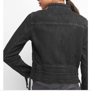 NWT. Black denim moto jacket